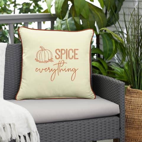 """Sunbrella """"Pumpkin Spice Everything"""" Indoor/ Outdoor Fall Pillow"""