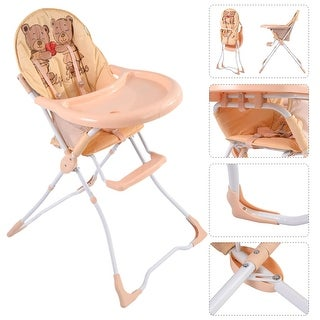 Baby High Chair Infant Toddler Feeding Booster Seat Folding Safety Portable - TAN