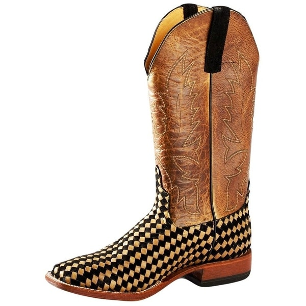 Horse Power Western Boots Mens Weave Detailed Leather Moka Tan