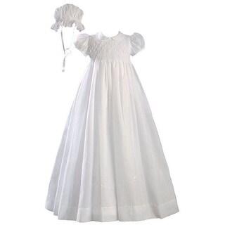 Baby Girls White Hand Smocked Polycotton Batiste Bonnet Christening Gown