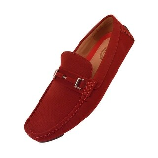 Amali Mens Perforated Nubuck Loafer with Wrapped Buckle
