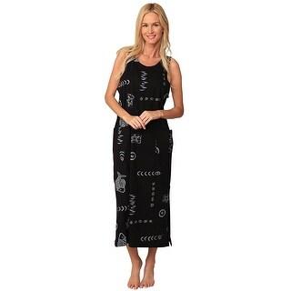 Ingear Cotton Dress Long Casual Beach Summer Tank Print Tee Cover Up