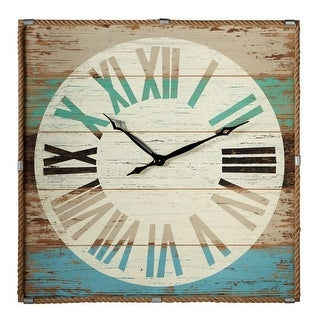 """36"""" Brown and Sea Blue Roman Numeral Weathered Wall Clock with Rope Trim"""