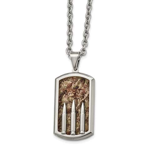 Chisel Stainless Steel Polished Enameled Camo Bullet Dog tag Necklace