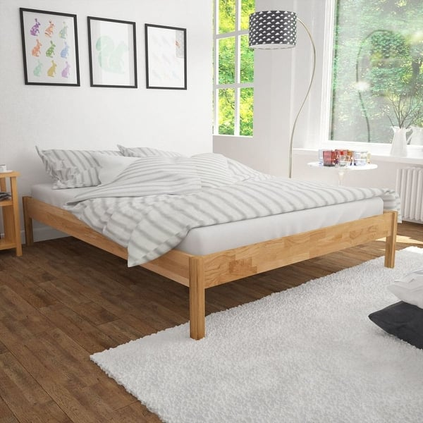 Vidaxl Solid Oak All Wood Double Bed Frame Bedroom Furniture Lacquer Finish