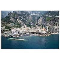 Poster Print entitled High angle view of a town Amalfi Atrani Amalfi Coast Salerno Campania Italy - Multi-color