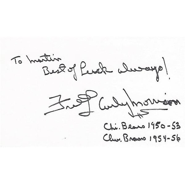 huge discount 2f105 3d653 Fred Curly Morrison Signed - Autographed Chicago Bears - Cleveland