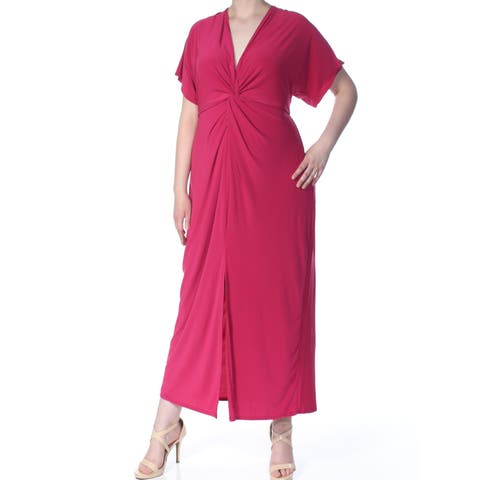 LOVE SQUARED Womens Pink Twist-front Short Sleeve Maxi Dress Plus Size: 1X