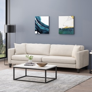Link to Clemons Contemporary 4 Seater Fabric Sofa with Accent Pillows by Christopher Knight Home Similar Items in Sofas & Couches