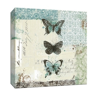 """PTM Images 9-152884  PTM Canvas Collection 12"""" x 12"""" - """"Bees n Butterflies No 2 - Blue"""" Giclee Butterflies Art Print on Canvas"""