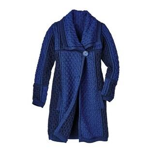 Women's Sweater Coat - Irish Wool Cable-Knit Layer Jacket
