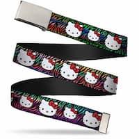 Blank Chrome Bo Buckle Hello Kitty Multi Faces Zebra Black Multi Color Web Belt
