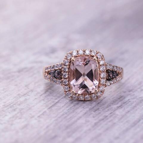 Auriya 10k Two-Tone Rose Gold 2ct Cushion-Cut Morganite and 1/2ct Halo Diamond Engagement Ring