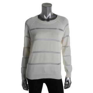 Donna Karan Womens Striped Raglan Sleeves Pullover Sweater - L