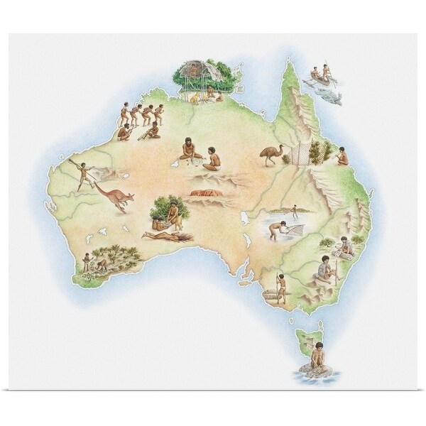 Free Map Of Australia To Print.Shop Illustrated Map Of Australia Showing Wildlife And Aborigine
