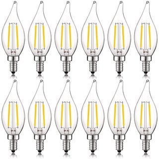 Luxrite 4W Vintage Candelabra LED Bulbs Dimmable, 400 Lumens, 40W Equivalent, Flame Tip Clear Glass, E12 Base (12 Pack)