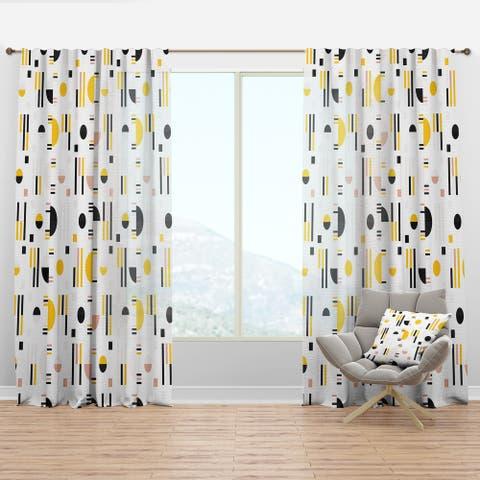 Designart 'Retro Geometric Design IX' Mid-Century Modern Curtain Panel