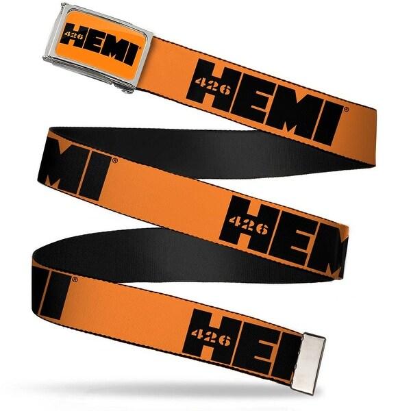 Hemi 426 Logo Fcg Orange Black Chrome Hemi 426 Logo Repeat Orange Web Belt