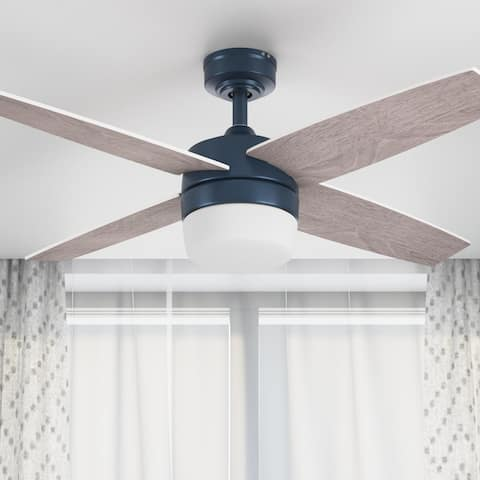 """44"""" Prominence Home Atlas Indoor Modern Ceiling Fan with Remote, Sapphire Blue"""