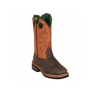 John Deere Western Boots Boys Pull On Square Toe Brown Rust JD2319