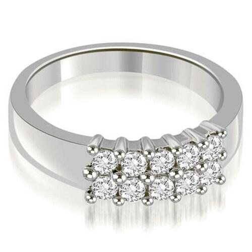 0.50 cttw. 14K White Gold Two Row Round Cut Diamond Wedding Ring