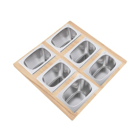 15.75 x 16.75 Condiment Serving Board with 6 Bowls