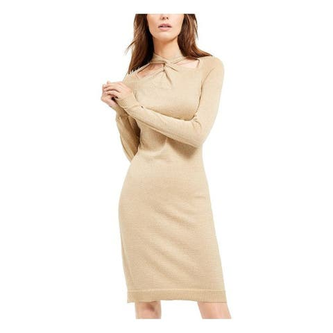 MICHAEL KORS Gold Long Sleeve Above The Knee Sheath Dress Size XL
