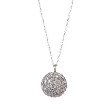 14k Gold White Diamond Disk Pendant with Chain