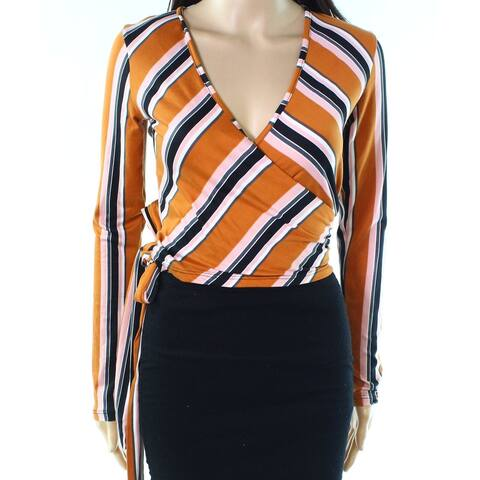 Polly & Esther Pink Orange Womens Size Large L Striped Wrap Top