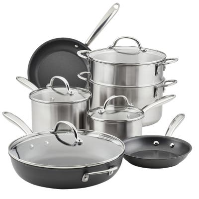Rachael Ray Stainless Steel and Hard Anodized Nonstick Cookware Pots and Pans Set, 11-pc