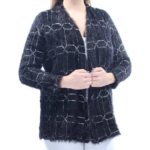 ALFANI Womens Black Eyelash Material Geometric 3/4 Sleeve Open Sweater Size: L