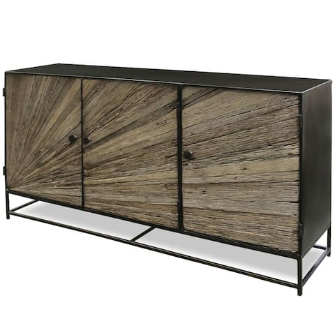 StyleCraft Kayden Reclaimed Wood and Graphite Iron Metal Sideboard