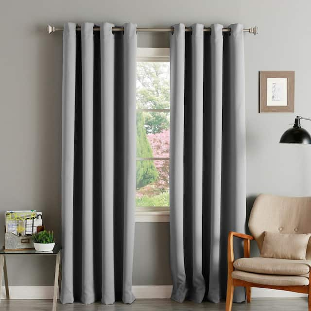 """Aurora Home Thermal Insulated Blackout Grommet Top Curtain Panel Pair - 52"""" w x 120"""" l - Dove Grey"""