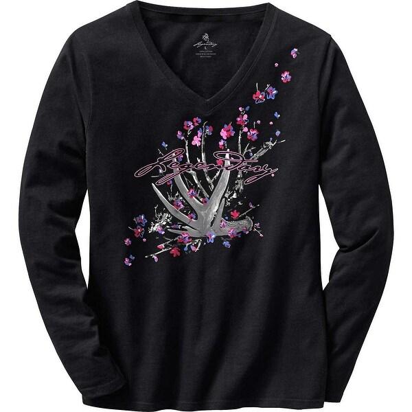 Legendary Whitetails Women's Floral Shed Black V-Neck T-Shirt