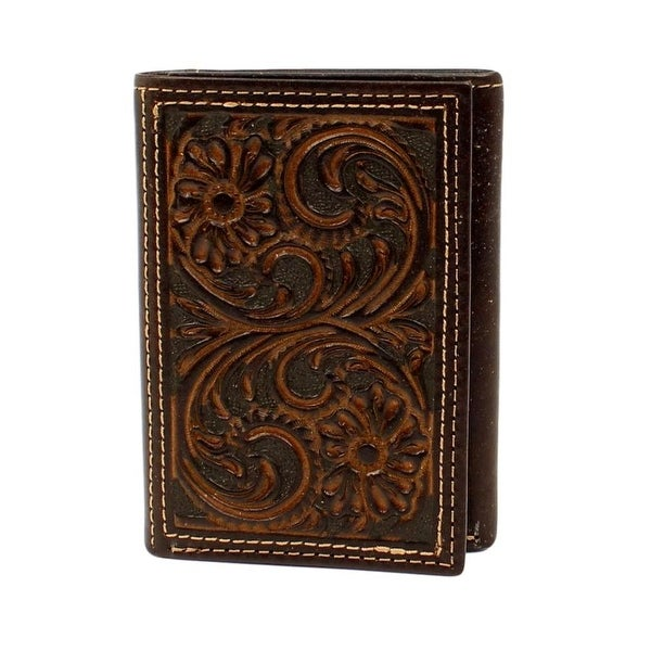 Nocona Western Wallet Mens Trifold Floral Embossed Brown - One size