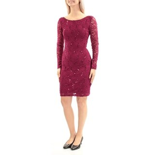 Womens Purple Long Sleeve Above The Knee Sheath Cocktail Dress Size: S