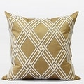 "G Home Collection Luxury Gold Textured Check Embroidered Pillow 20""X20"" - Thumbnail 0"