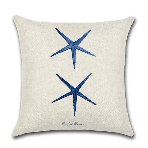 Coastal Nautical Starfish Navy Blue Square 18 x 18 Inches Decorative Throw Pillow Covers Cushion for Sofa Bedroom
