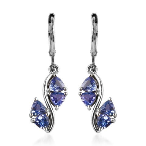 Tanzanite Lever Back Dangle Earrings Platinum Over Sterling Silver