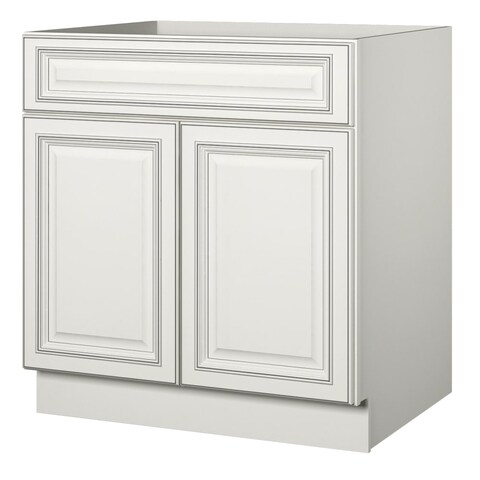 "Sanibel 33"" Double Door Sink Base Cabinet - off white with charcoal glaze - N/A"