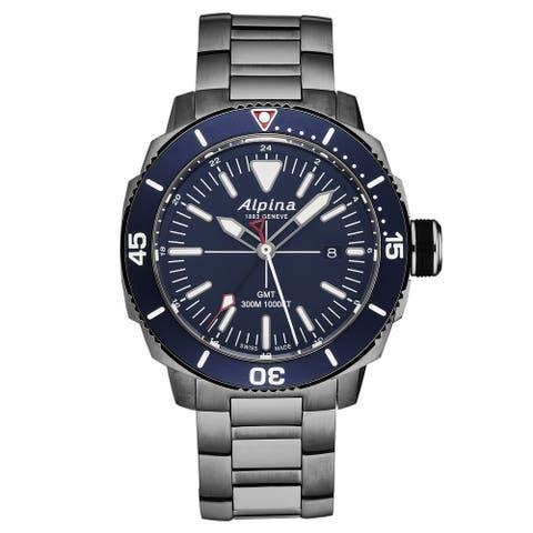 Alpina Mens 'Seastrong Diver' GMT Swiss Quartz Watch AL247LNN4TV6B