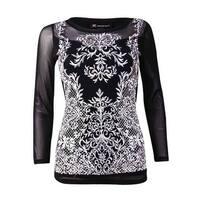 INC International Concepts Women's Embroidered Illusion Top (XS, Deep Black) - Deep Black - xs