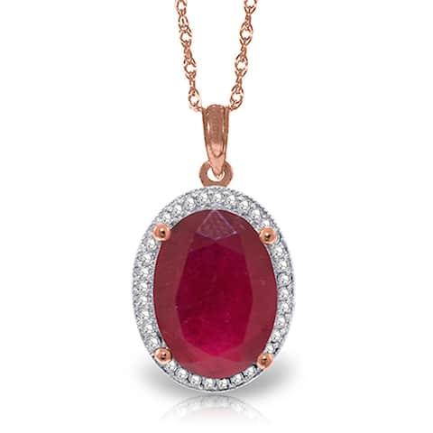 7.93 Carat 14K Solid Gold Loren Ruby Diamond Gemstone Necklace