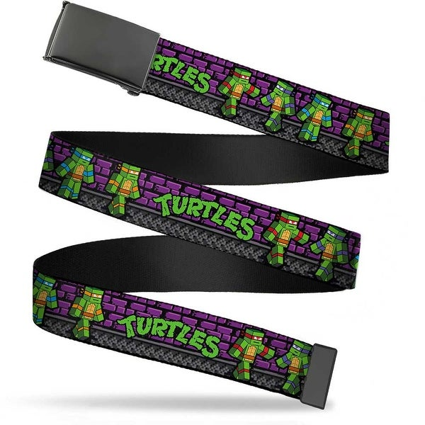 Blank Black Buckle Classic Tmnt Block Turtle Poses Purple Grays Web Belt
