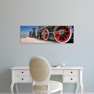 Easy Art Prints Panoramic Image 'Train engine on railroad track, Golden Spike National Historic Site, Utah' Canvas Art