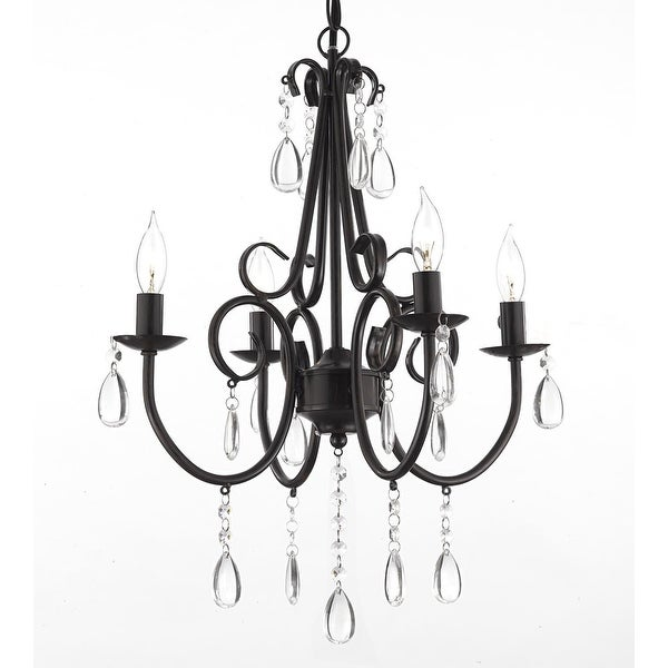 Wrought Iron Crystal 4 Light Rustic Chandelier Hardwire Plug In