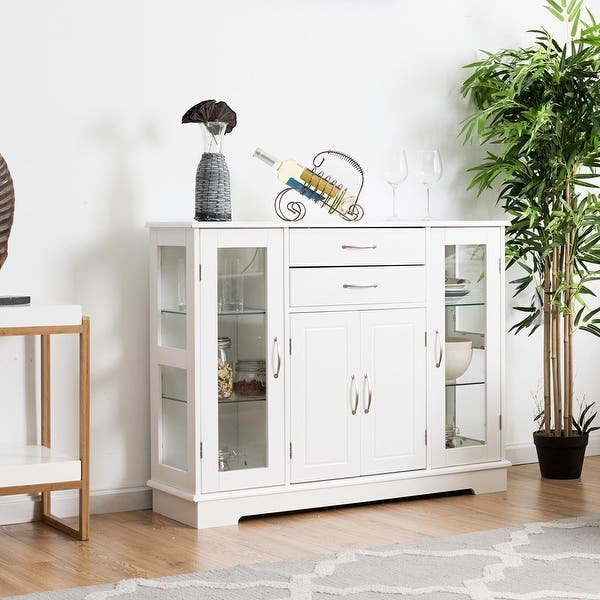 Shop Costway Buffet Storage Cabinet Console Cupboard W/Glass ...