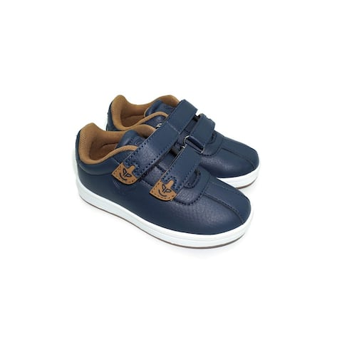 Pipiolo Boys Navy Tan Adhesive Strap Casual Sneakers