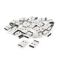 Unique Bargains 25 Pcs Straight 4 Pins SMT DIP USB2.0 A Male Type Plug Jack Socket Connector