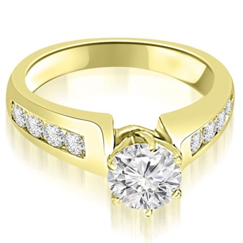 1.00 cttw. 14K Yellow Gold Channel Set Round Cut Diamond Engagement Ring